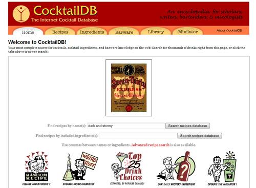 Cocktaildb.com: eine interessante Website mit vielen Cocktail-Rezepten.