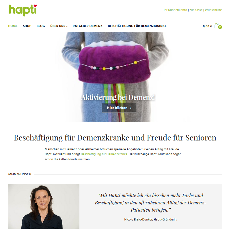 Hapti: Beschäftigung gegen Demenz.